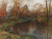 autumn lake by mikhail rundaltsov