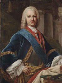 portrait of king ferdinand vi of spain (1713-1759), half-length, in a breastplate, a blue frock lined with gold embroidery, wearing a sash by jacopo amigoni