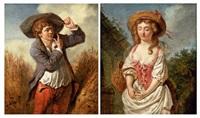 le galant paysan (+ la jeune paysanne; pair) by pierre alexandre wille