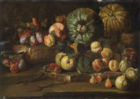 natura morta con pesche, fichi, susine e zucche by abraham brueghel