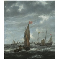 merchantmen and other shipping off flushing by jan peeters the elder