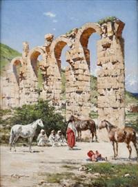 halte près de l'aqueduc de l'oued bella, cherchel, algérie by victor pierre huguet