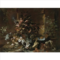 a still life with potted plants and roses, a dog, a basket of apples, fennel, and a semi-plucked rooster, a bread roll on a plate and a wine glass by niccolino van houbraken