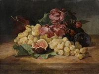 natures mortes aux raisins, figues et fleurs (pair) by david emile joseph de noter
