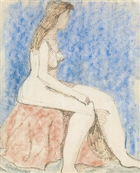 seated female nude by milton avery