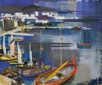 italian seaside (mediterranean harbour) by vilmos aba-novák