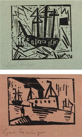 dreimaster mit flagge and ships (with man on a pier) (2 works) by lyonel feininger