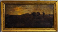 tonalist landscape with bovine and sheppard by louis paul dessar