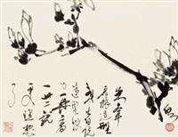 玉兰 镜心 水墨纸本 by huang zhou