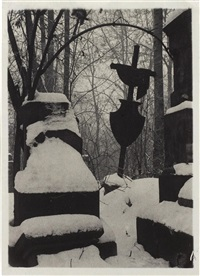 mala strana cemetery in the snow by josef sudek
