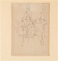 due soldati a cavallo by giovanni fattori