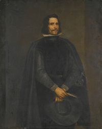 portrait of a spanish nobleman, three-quarter length, holding a letter and a hat, a sword by his side by diego rodríguez de silva y velásquez
