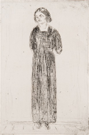 young woman in dark dress by edvard munch