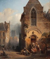 vue d'anvers avec l'église de saint-jacques by jean (jan) michael ruyten