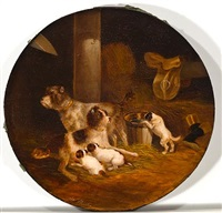 wirehaired fox terrier family in the stable by joseph heicke