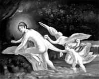 leda von schwänen und amor verfolgt by hynek fiedler
