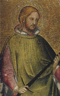 a young male saint, holding a sword, (saint julian the hospitator?) by agnolo di taddeo gaddi