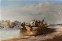 on the river - india by charles (sir) d'oyly