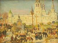 murom, altrussische stadt mit blick auf die spasski kathedrale by ivan semionovich kulikov