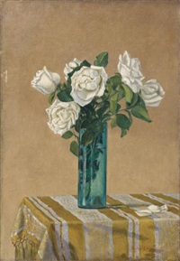 roses blanches dans un vase by charles lacoste