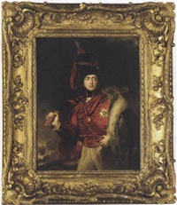 portrait of lord charles stewart, later 3rd marquess of londonderry, in a hussar uniform with the peninsular war ribbon and medal by samuel laurence