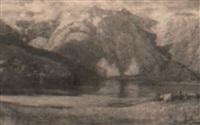 paesaggio alpestre con laghetto e mucche by carlo paolo agazzi