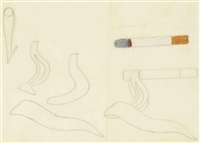 working drawing for smoking cigarette #1 by tom wesselmann