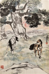 芒砀山骏马图 (horses at pasture) by wang qingfang