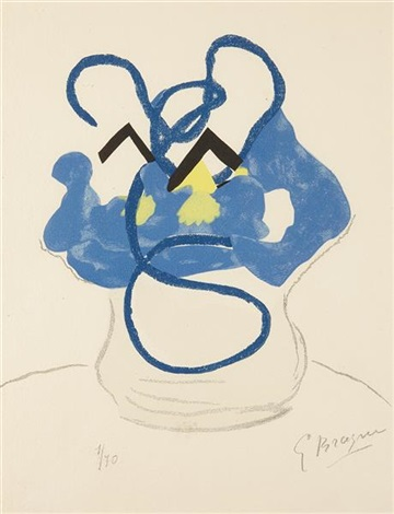 bouquet of blue flowers from si je mourais là bas by georges braque