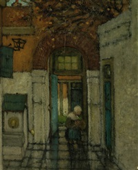 girl in a courtyard by henri van daalhoff