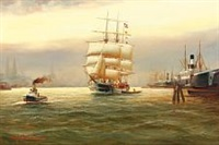 harbour scene from hamburg with pilot boat and ship flying the danish flag by alfred jensen