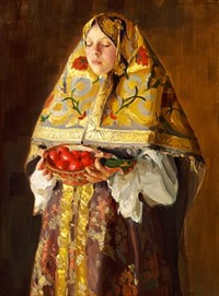 a young russian woman with a dish of apples by ivan semionovich kulikov