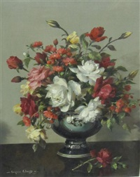 a still life of mixed flowers in a vase by vernon ward