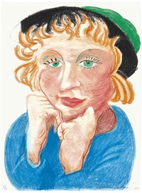 celia with green hat, from moving focus by david hockney