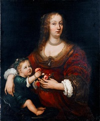 portrait of a lady with her child by jürgen ovens