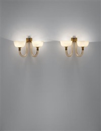 pair of two-armed wall lights by carlo scarpa