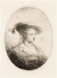 bust of a young lady with a plumed cap (saskia ?) by ferdinand bol