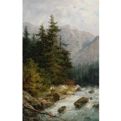 fishing in the mountains by guy rose