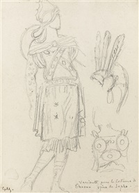a costume design: phaon, in the opera sappho by gustave moreau