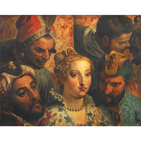 heads from the marriage at cana after paolo veronese by eugène delacroix