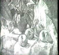 stilleben mit blumenstock und apfeln auf weissem tuch by irene holzer-weineck