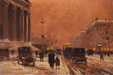 paris - place de la madeleine im winter by edouard léon cortès