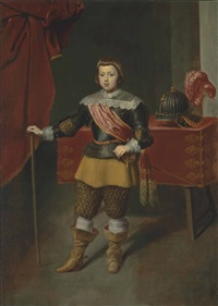 portrait of the infante baltasar carlos (1629-1646), son of king philip iv of spain and his wife isabella of bourbon, full-length, in armour with a red sash by diego rodríguez de silva y velásquez