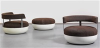 rare mandarin armchairs and a stool (set of 3) by maurice calka