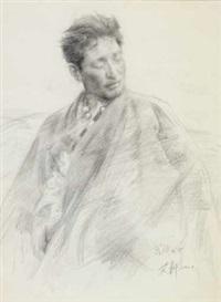 扎西次仁; 及荒原父女 tibetan boy; father and daughter on highland (2 works) by ai xuan