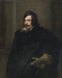 portrait of a man with a gloved hand by sir anthony van dyck