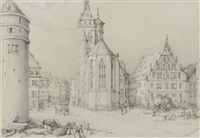 a view of stuttgart with the tower of the alte schloss and the stiftskirche by eberhard wächter