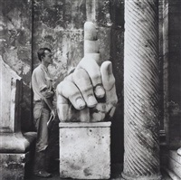 cy (twombly) + relics- rome #5 by robert rauschenberg