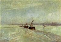 gestrande vissersboten op de schelde by gerard (ger) jacobs
