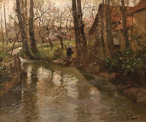 a stream through a village by frits thaulow